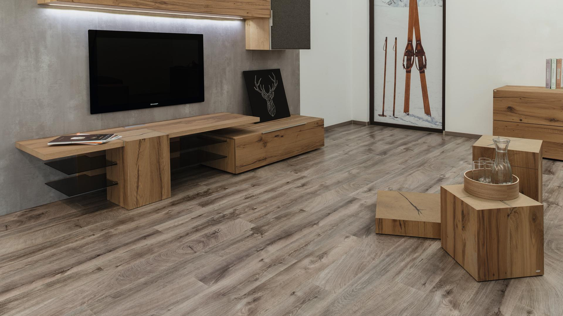 room scene living room wood floor Veneer Parquet O252 Eiche Fresco Earth LM